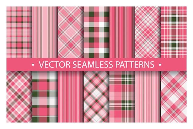 Establecer cuadros de patrones sin fisuras. patrones de tartán textura de la tela.