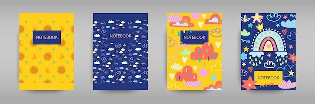 Establecer cubiertas iridiscentes para cuadernos con arco iris de niña boho nubes lluvia y sol vector