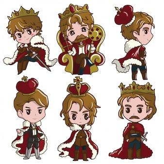 Establecer cute little boy wearing the king., concepto de dibujos animados de cuento de hadas.