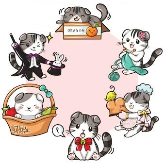 Establecer cute scottish fold cat cartoon vector.