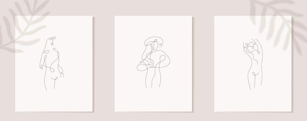 Establecer decoración de cartel de pared de figura de mujer lineal