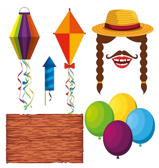 Establecer decoración de fiesta para festa junina