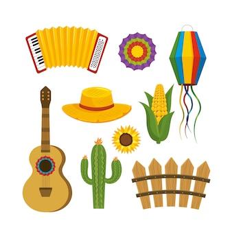 Establecer decoración de fiesta junina para celebración de fiesta