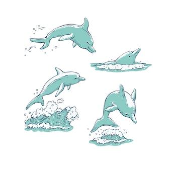 Establecer delfines saltando, zambullirse y nadar