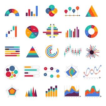 Establecer diagrama de infografía de gráfico y gráfico de negocio. concepto.