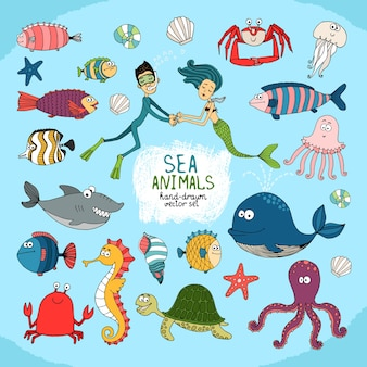 Establecer dibujos animados dibujados a mano vida marina