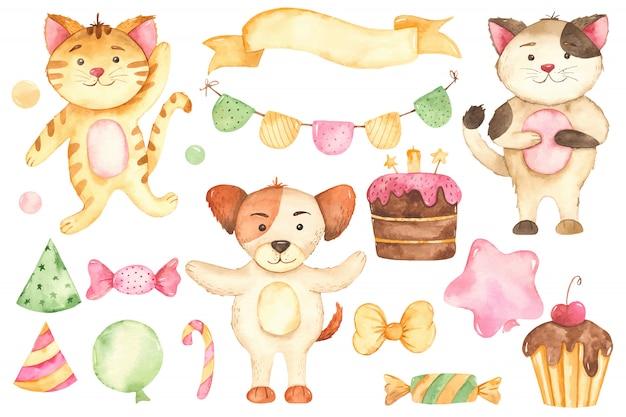 Establecer dibujos animados lindo perro y gato