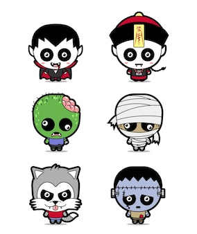 Establecer dibujos animados lindo personaje de halloween