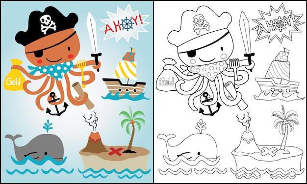 Establecer dibujos animados del tema piratas con pulpo divertido