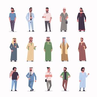 Establecer diferentes ic empresarios de pie pose hombres árabes vistiendo ropas tradicionales colección de personajes de dibujos animados masculinos árabes longitud completa fondo blanco plano