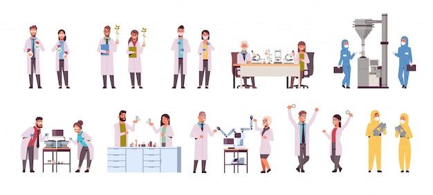 Establecer diferentes investigadores científicos haciendo experimentos en laboratorio
