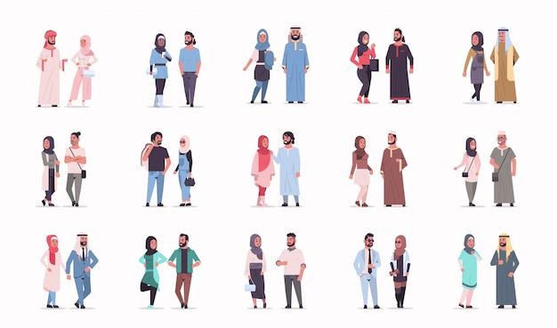 Establecer diferentes negocios árabes pareja de pie juntos hombre árabe mujer vestida con ropa tradicional colección de personajes de dibujos animados árabes