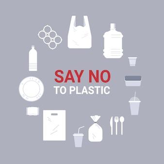 Establecer diferentes objetos desechables hechos de iconos de plástico firmar alrededor de círculo colección contaminación reciclaje ecología problema guardar el concepto de tierra ilustración plana