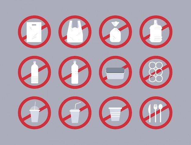 Establecer diferentes objetos desechables hechos de plástico colección contaminación reciclaje ecología problema guardar el concepto de tierra signo de prohibición plano horizontal
