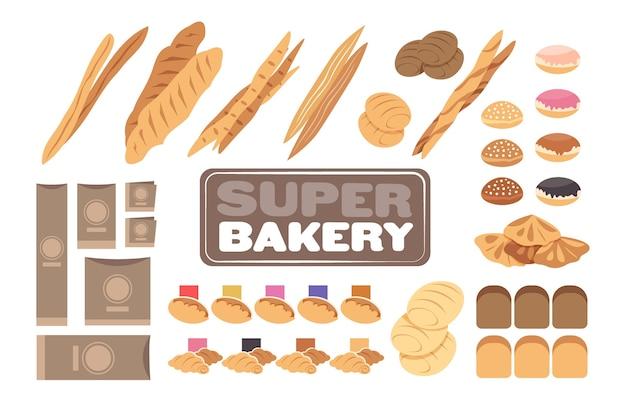 Establecer diferentes productos de pastelería de panadería colección horizontal ilustración vectorial