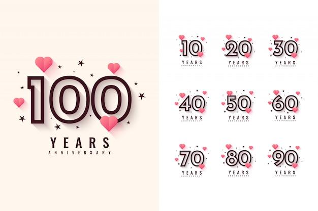 Establecer diseño de aniversario de 10 a 100 años