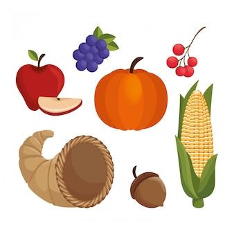 Establecer diseño de iconos de acción de gracias de alimentos