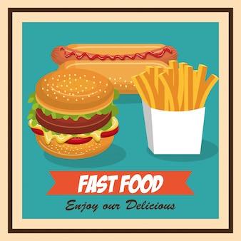 Establecer el diseño de iconos aislados de comida rápida