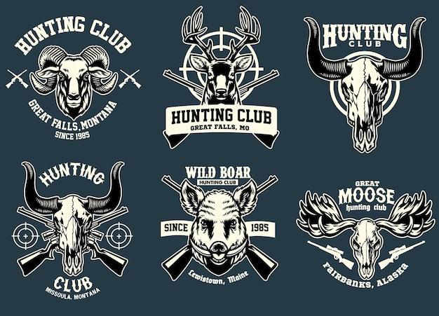 Establecer diseño de insignia de paquete de animal de caza.