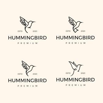 Establecer diseño de logotipo de colibrí monoline