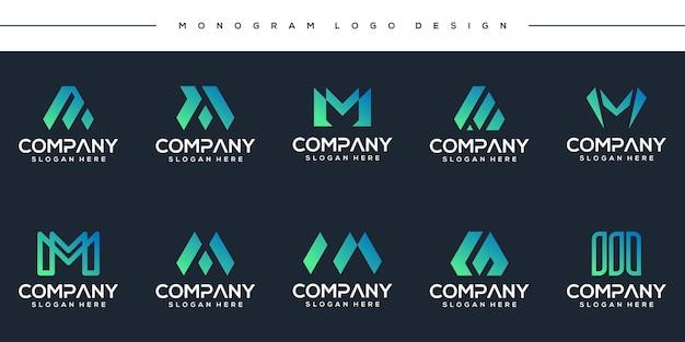 Establecer diseño de logotipo creativo letra m