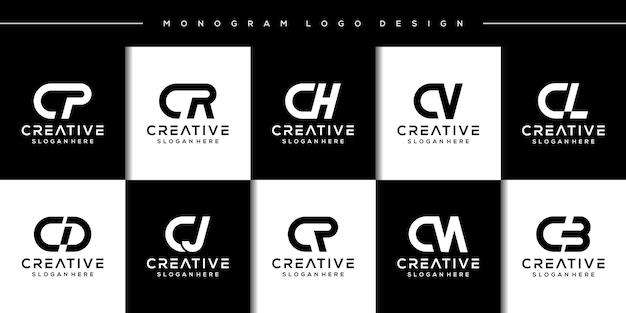 Establecer el diseño del logotipo de la letra c del paquete