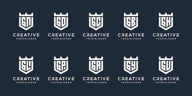 Establecer el diseño del logotipo de la letra g del paquete
