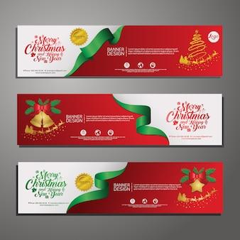 Establecer diseño de plantilla banner horizontal de feliz navidad. oferta de navidad. vector.