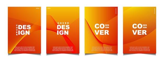 Establecer diseño de portada abstracta con fondo de línea de onda amarilla degradado