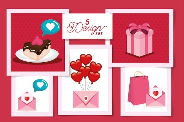 Establecer diseños de amor y decoración.