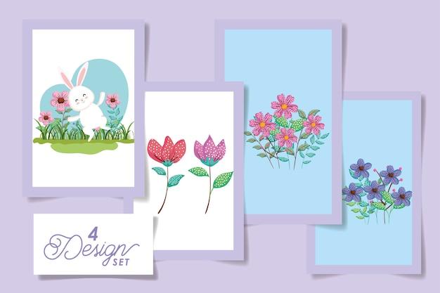 Establecer diseños de conejito de pascua con flores