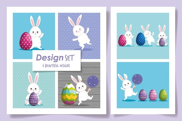 Establecer diseños de conejos de pascua con huevos decorados