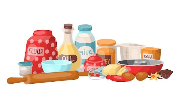 Establecer dispositivo de cosas de cocina, ingrediente para la preparación de pasteles dulces