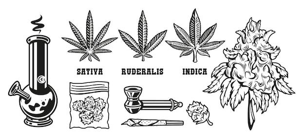 Establecer dispositivos de elementos para fumar hojas de marihuana.