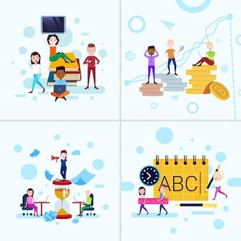 Establecer diversidad niño niña personajes conceptos plantilla femenina masculina para el trabajo de diseño y animación sobre fondo blanco de cuerpo entero plana