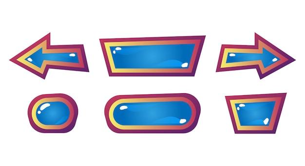 Establecer un divertido botón de gelatina de ui de madera del juego para elementos de activos de gui