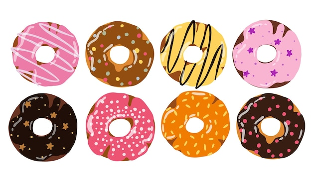 Establecer donut colorido de dibujos animados aislado sobre fondo blanco donut de vista superior en esmalte para el diseño del menú