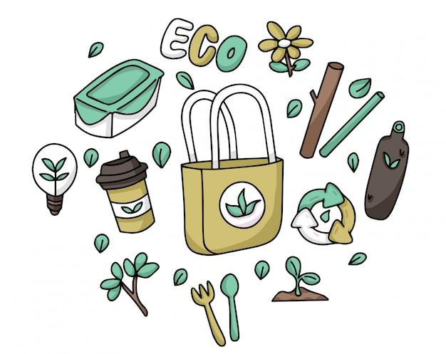 Establecer doodle de artículos reutilizables ecológicos