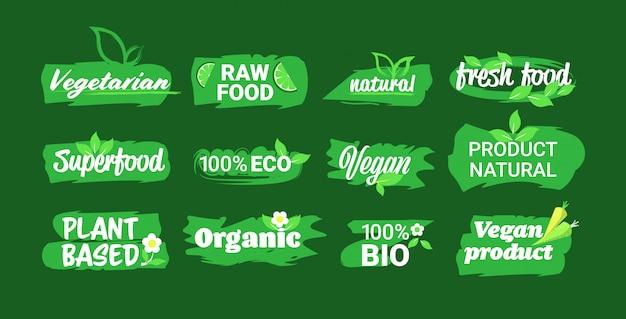 Establecer eco producto natural pegatinas orgánico saludable vegano mercado logo comida fresca emblemas colección insignias diseño horizontal