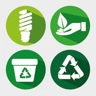 Establecer ecología guardar bombilla con reciclaje de basura y hojas