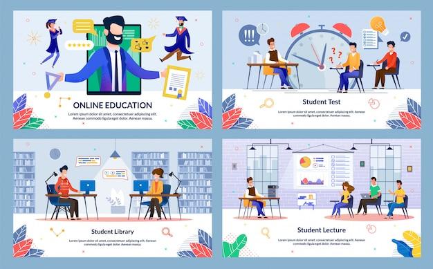 Establecer educación en línea, conferencia de estudiantes, dibujos animados.