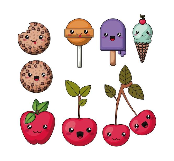 Establecer el diseño de icono de comida de estilo kawaii aislado