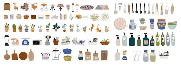 Establecer el elegante interior de la cocina escandinava: sillón, mesa, utensilios de cocina, decoraciones para el hogar