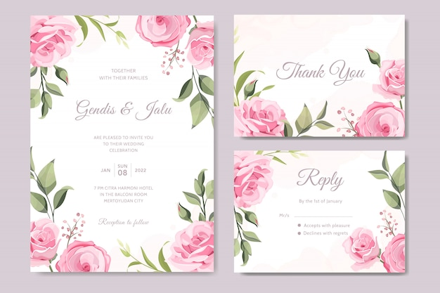 Establecer elegante tarjeta de boda con hermosas flores y hojas