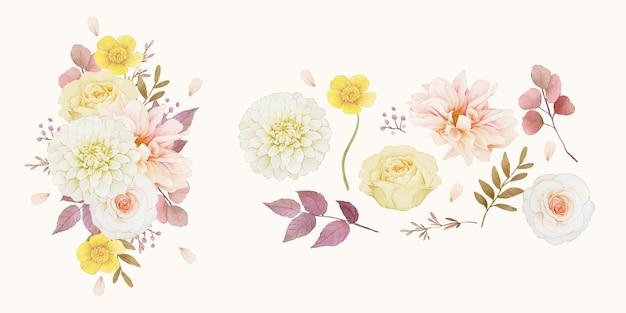 Establecer elementos de acuarela otoñal de dalia y rosas