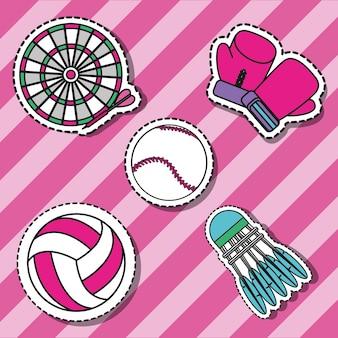 Establecer elementos deportivos para jugar decoración de parches