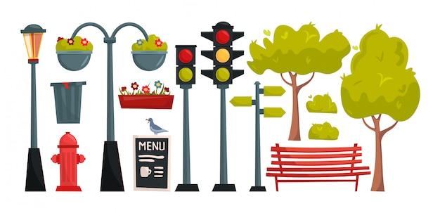 Establecer elementos de parque y ciudad de dibujos animados. constructor del pueblo.