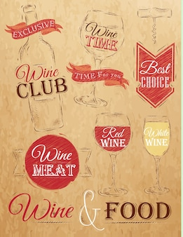Establecer elementos de vino marrón