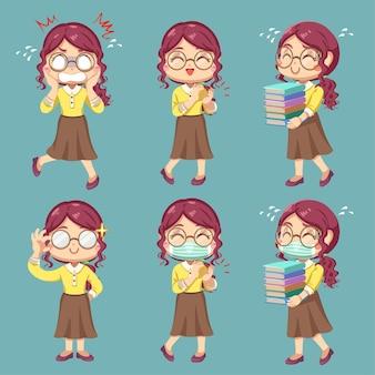 Establecer la emoción de la maestra en el personaje de dibujos animados y la acción de diferencia, ilustración plana aislada