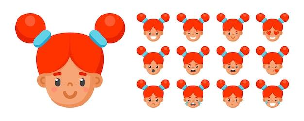Establecer emociones de cara de niña linda. avatares infantiles de expresión facial. niño divertido emoji